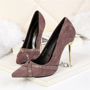 Delicate Suede Upper Closed Toe Stiletto Heels Metal Wedding/Prom Shoes PS017