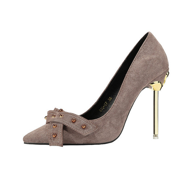 Sweet Suede Upper Metal High Heels Closed Toe Evening Shoes PS018