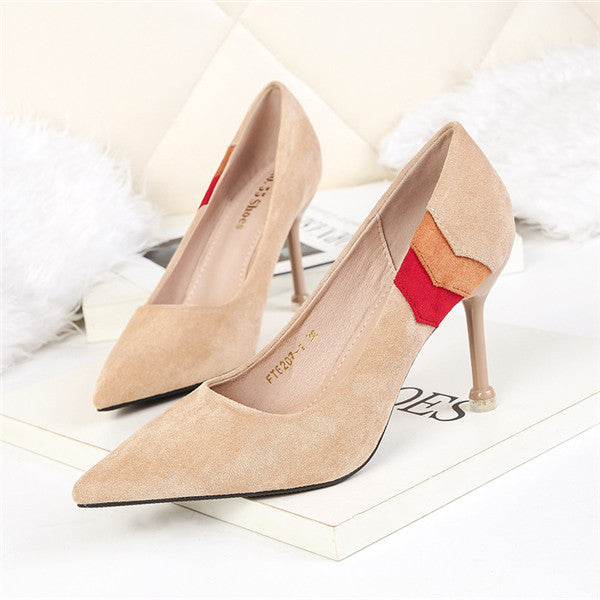 Gorgeous Suede Upper Closed Toe High Heels Prom Shoes PS019