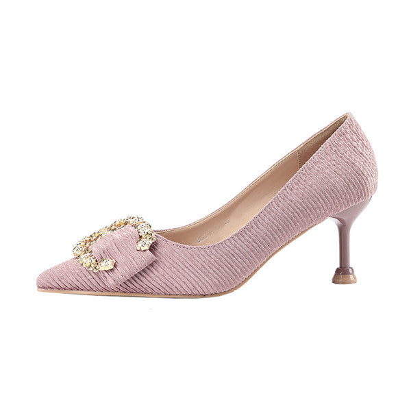 Sweet PU Upper Closed Toe High Heels Prom Shoes With Rhinestones PS020