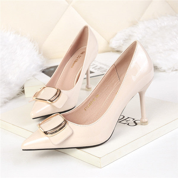 Chic PU Upper Closed Toe Metal High Heels Evening Shoes PS021