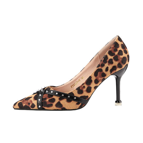 Sexy Leopard PU Upper Closed Toe High Heels Prom Shoes PS022