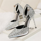 Attractive PU Upper Sequined Closed Toe Stiletto Heels Prom Shoes PS023