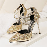 Brilliant PU Upper Closed Toe Sequins Stiletto Heels Evening Shoes PS024
