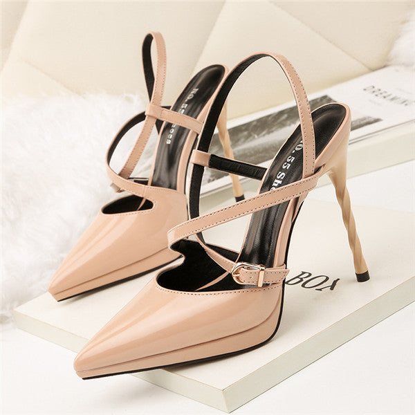 Charming PU Upper Closed Toe High Heels Evening Shoes PS025