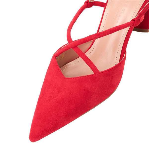 Graceful Suede Upper Closed Toe Chunky Heels Prom Shoes PS026