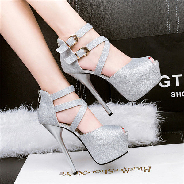 Stunning PU Upper Peep Toe Stiletto Heels Evening Shoes PS027