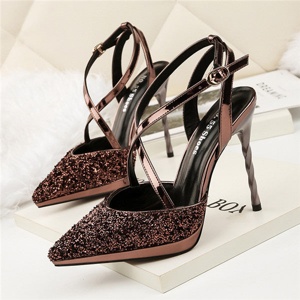 Fabulous Sequined PU Upper Closed Toe High Heels Shoes PS028
