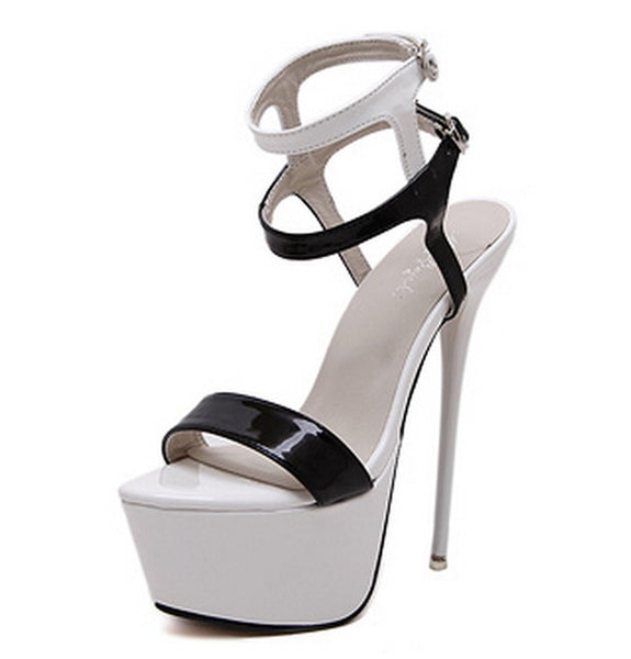 Sexy PU Upper Open Toe Stiletto Heels Shoes PS029