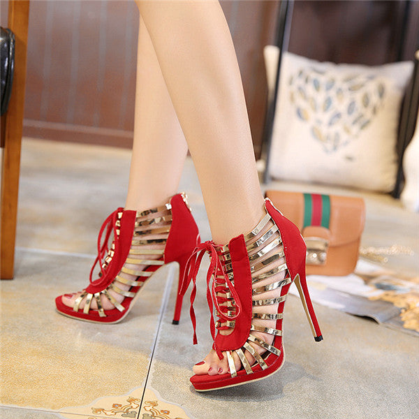 Modern Suede Upper Open Toe High Heels Prom Shoes PS030
