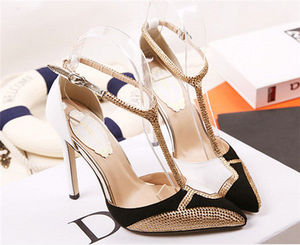 Sparkly PU Upper Closed Toe High Heels Prom Shoes PS032