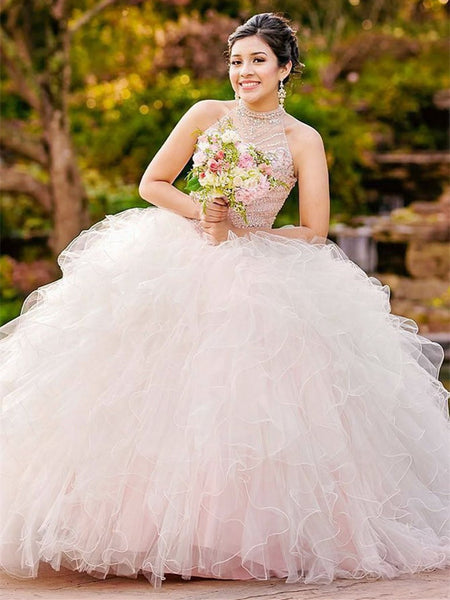 Shining Halter Ball Gowns Quinceanera Dresses With Beads and Rhinestones QD001