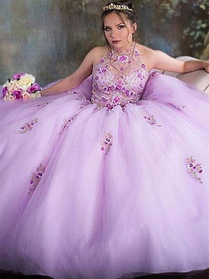 Sparkly Halter Tulle Ball Gowns Quinceanera Dresses With Beads and Appliques QD002