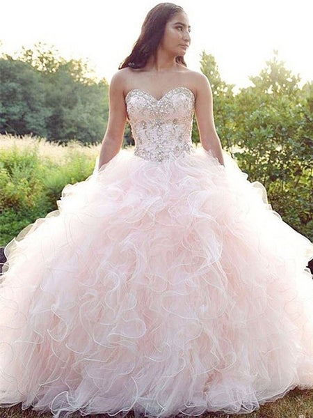 Sweetheat Tulle Quinceanera Dresses With Rhinestones And Beads QD003