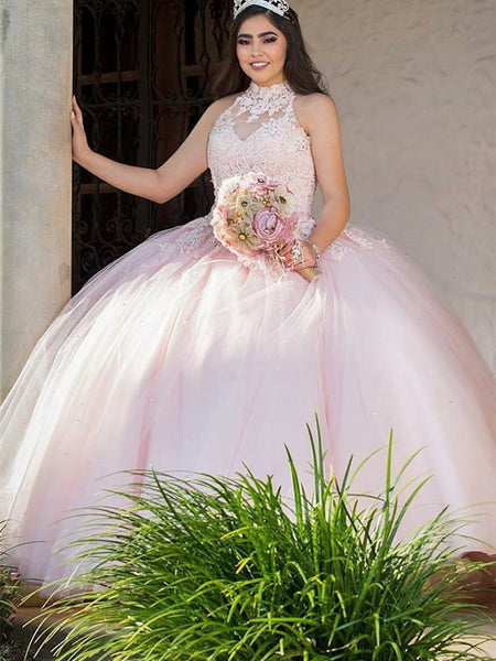 Halter Ball Gowns Quinceanera Dresses Tulle Appliqued Gowns QD004