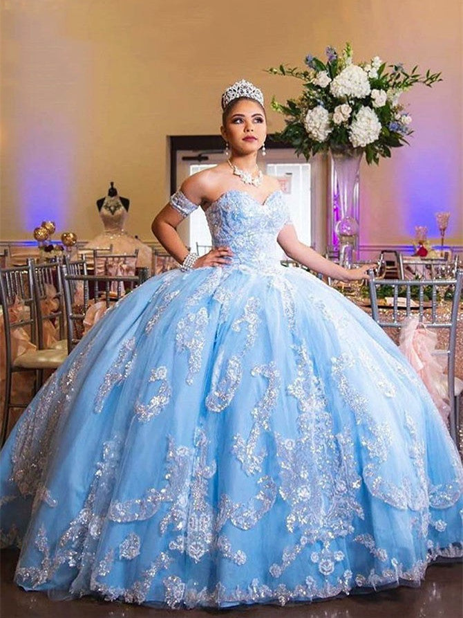 Modern Tulle Ball Gowns Quineanera Dresses With Appliques QD005
