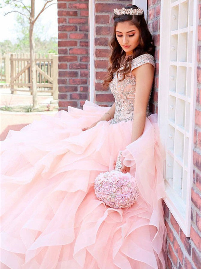Bateau tulle Quinceanera Dresses Ball Gown Beaded Gowns QD006