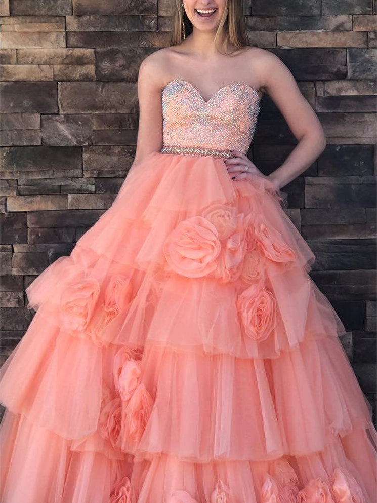 Sweetheart Beaded A-line Quinceanera Dresses Tulle Gowns QD010