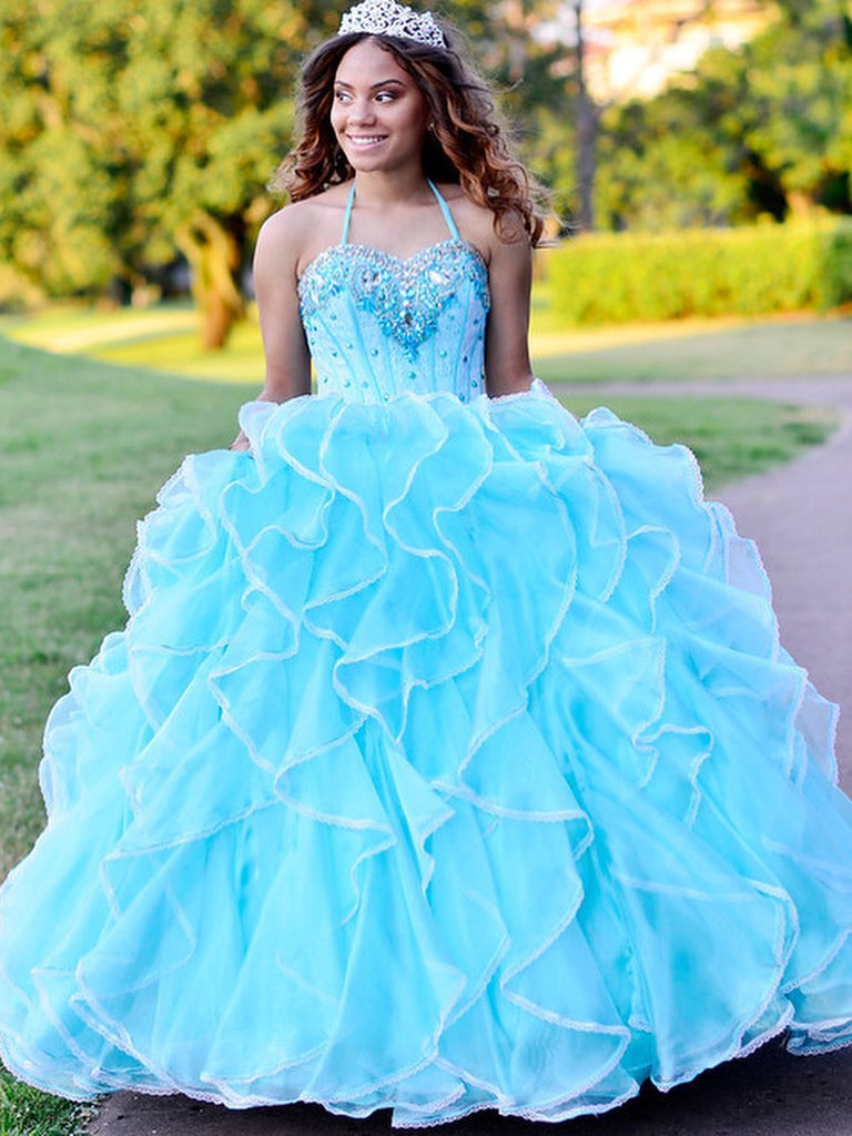 Halter Tulle Ball Gown Quineanera Dresses With Rhinestones QD011