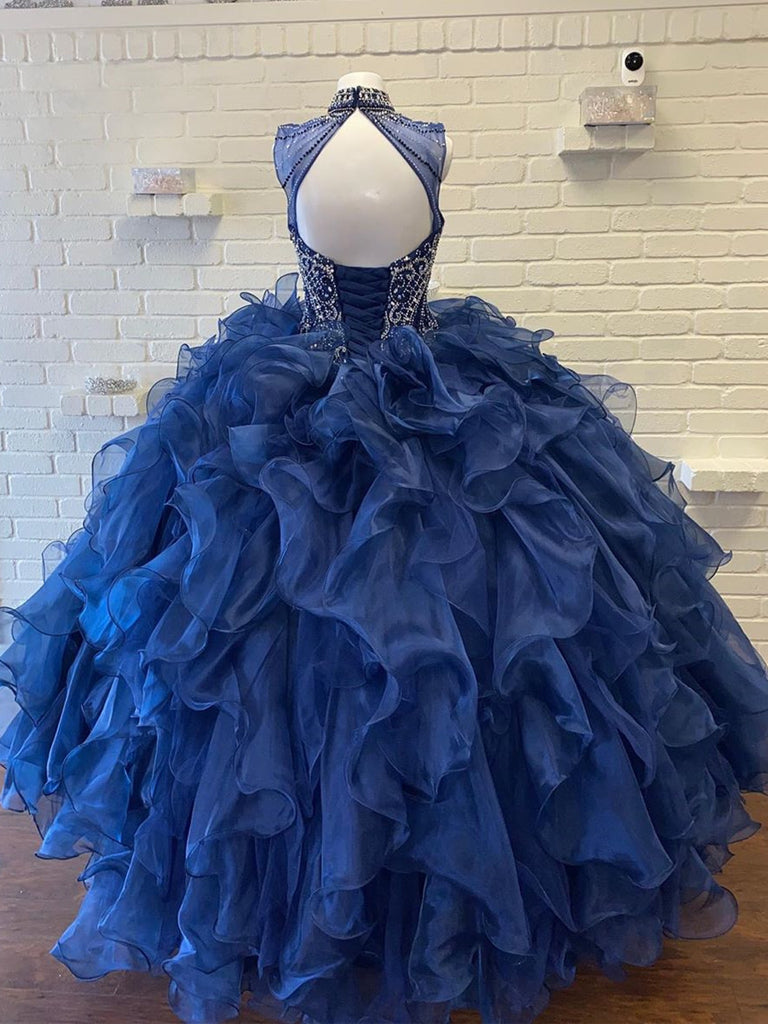 High Neck Beaded Ball Gown Quinceanera Dresses QD012