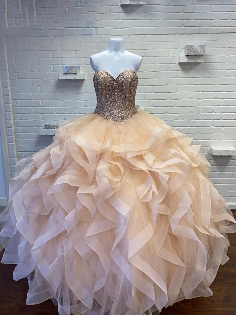 Sweetheart Beaded Ball Gown Tulle Quinceanera Dresses QD014