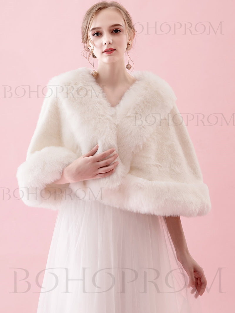 Elegant Women's Bridal Shawl For Wedding Party With Faux Fur SW002