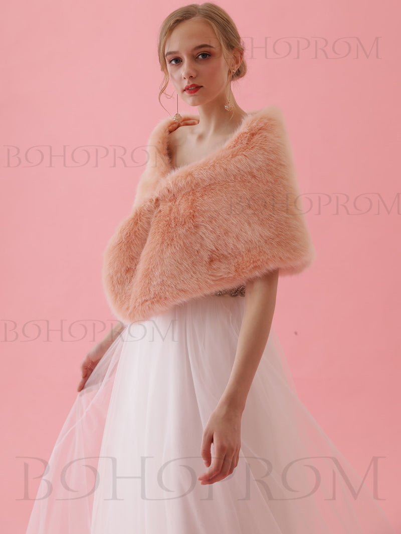 Modest Warm Wraps Women's Winter Party Faux Fur Shawl SW006