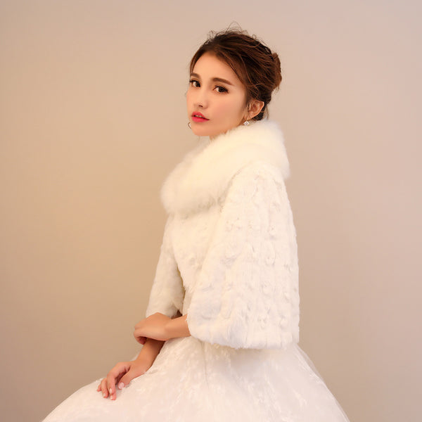 Fabulous White Coat Faux Fur 3/4 Sleeves Warm Wraps SW012