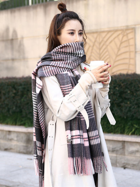 Elegant Warm Grid Scarf Cashmere For Women Long Wraps SW013