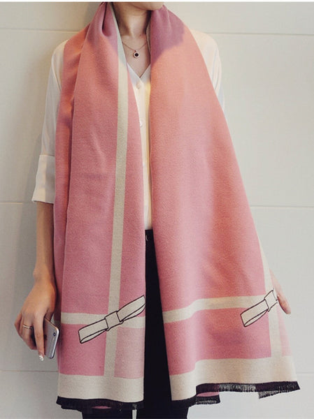 Modern Cashmere Warm Wraps For Winter Scarf With Bowknot SW014