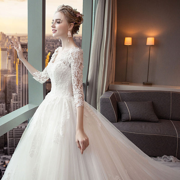 A-line V-neck Cathedral Train Tulle Appliqued Long Wedding Dresses SWD044