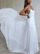 A-line Spaghetti Strap Sweep Train Chiffon Appliqued  Wedding Dresses ABC0003