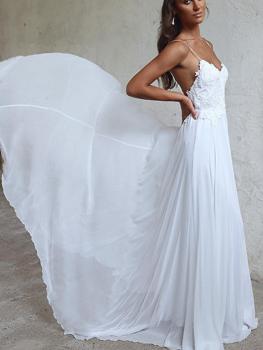 Graceful Chiffon Spaghetti Straps Neckline A-line Wedding Dresses With Appliques WD008