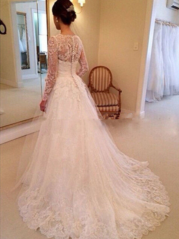 Exquisite Lace V-neck Neckline Chapel Train 2 In 1 Wedding Dresses With Appliques WD025