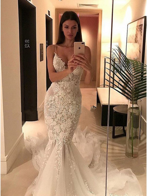 Unique Tulle Spaghetti Straps Neckline Mermaid Wedding Dresses With Appliques WD066