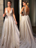 Shimmering Glitter Tulle V-neck Neckline Chapel Train A-line Wedding Dresses WD103