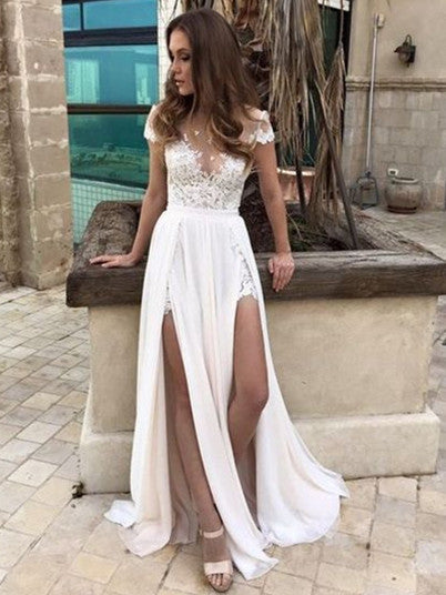 Pure Chiffon Bateau Neckline Cap Sleeves A-line Wedding Dresses With Appliques WD104