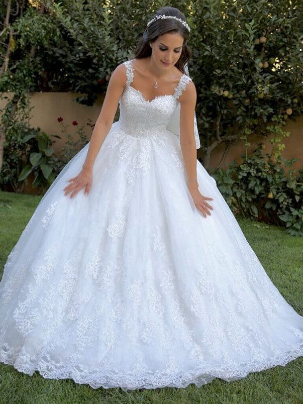 Stunning Tulle Spaghetti Straps Neckline Ball Gown Wedding Dresses With Appliques WD107