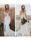 Chic Lace & Tulle Jewel Neckline Chapel Train Sheath Wedding Dresses WD120