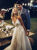 Excellent Tulle Spaghetti Straps Neckline A-line Wedding Dresses With Appliques WD122