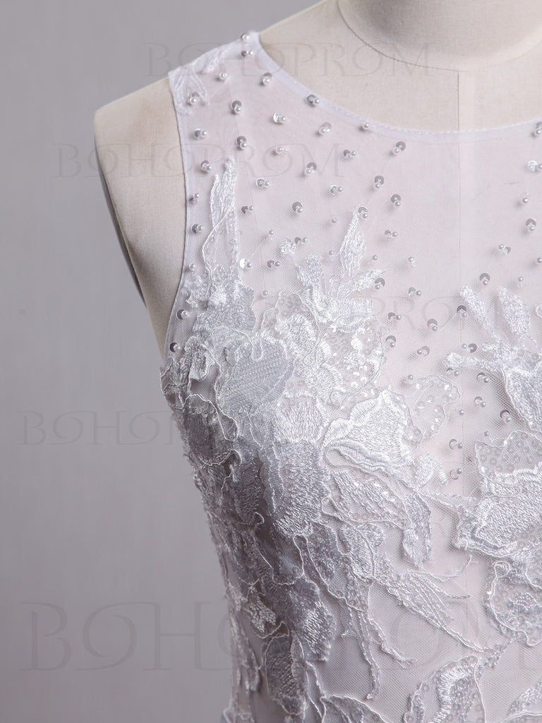 Romantic Tulle Jewel Neckline Chapel Train A-line Wedding Dresses WD123