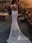 Graceful Lace Jewel Neckline Chapel Train Sheath Wedding Dresses WD137