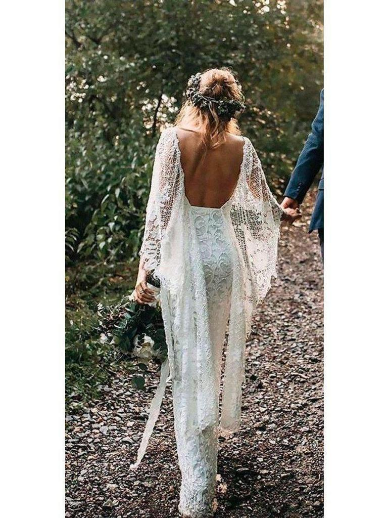 Romantic Lace V-neck Neckline Cape Sleeves Sheath Wedding Dresses WD149