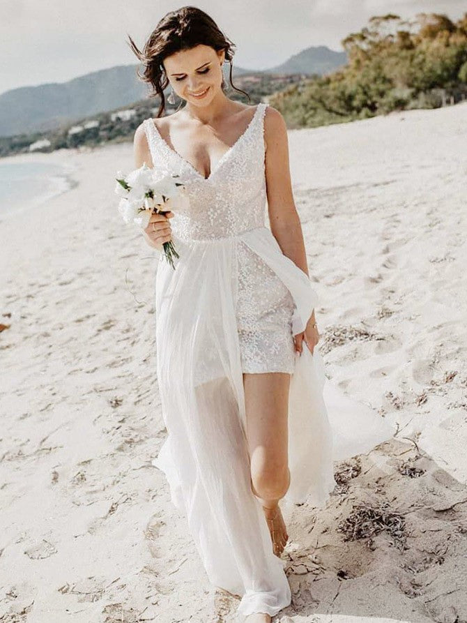 Shining Sequin Lace & Chiffon V-neck Neckline A-line Wedding Dresses WD157
