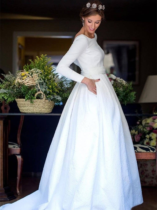 Charming Satin & Lace Bateau Neckline Long Sleeves A-line Wedding Dresses WD159