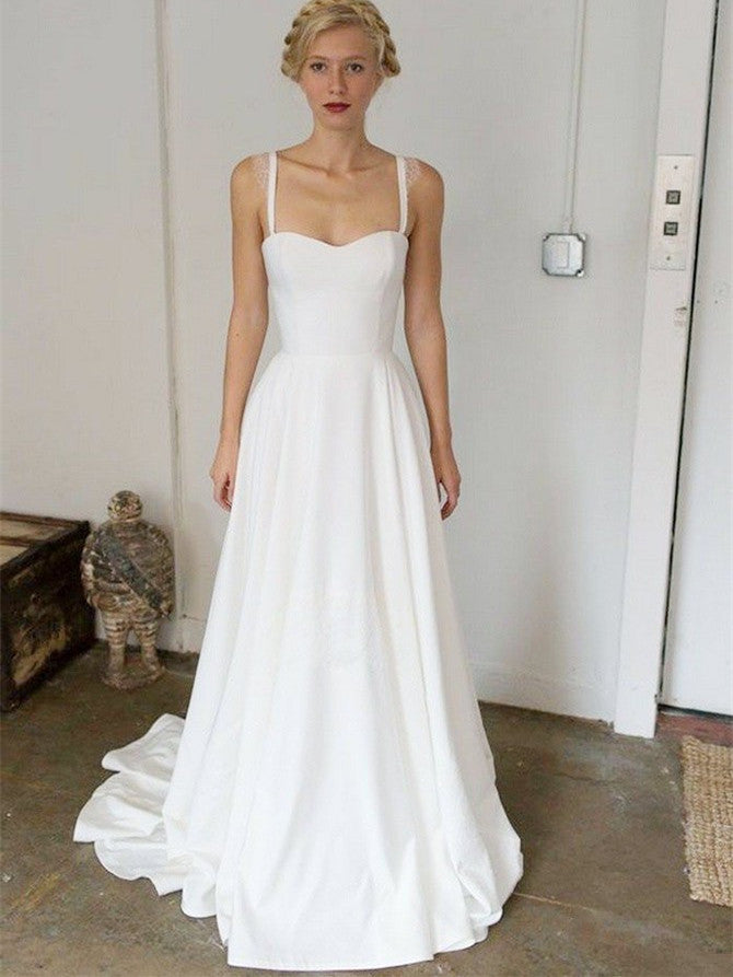 Simple Satin Spaghetti Straps Neckline Sweep Train A-line Wedding Dresses WD160