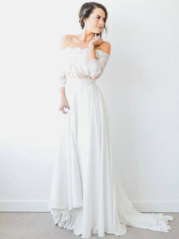 Unique Lace & Chiffon Off-the-shoulder Neckline A-line Wedding Dresses WD162