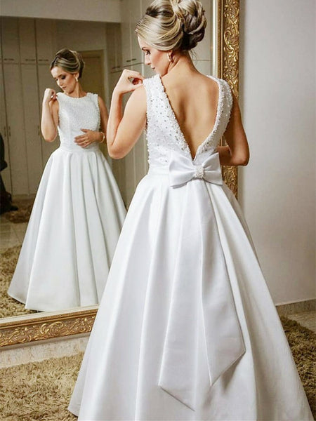 Modest Satin Bateau Neckline A-line Wedding Dresses With Beadings WD163