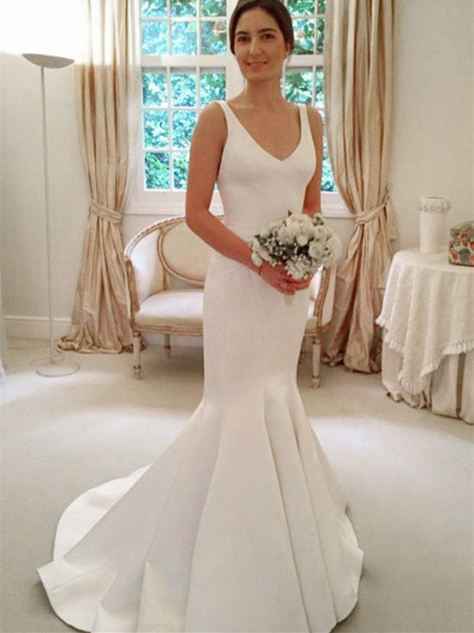 Alluring Satin Spaghetti Straps Neckline Mermaid Wedding Dresses WD164