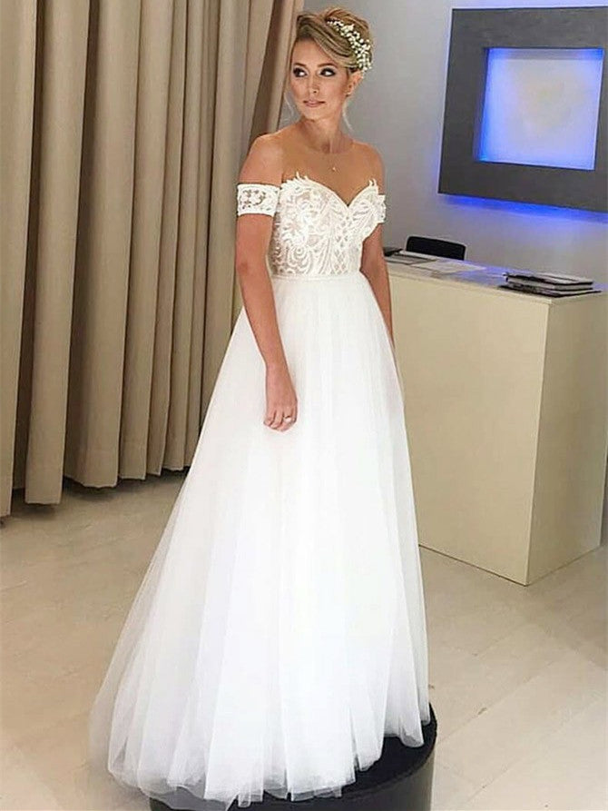 Glamorous Tulle Jewel Neckline Short Sleeves A-line Wedding Dresses WD165